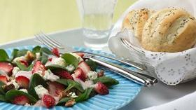 Strawberry Spinach Salad with Poppy Seed French Rolls Recipe