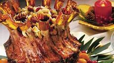 Cranberry-Apple Glazed Crown Pork Roast with Cranberry Cornbread Stuffing Recipe