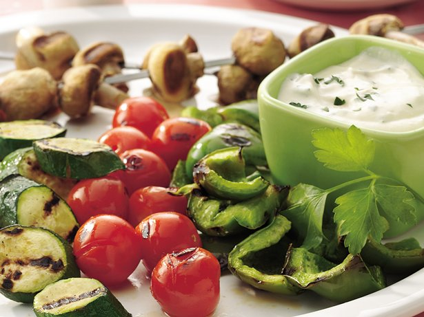 Vegetable Kabobs with Mustard Dip