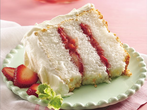 Strawberry-Rhubarb Angel Cake recipe from Betty Crocker