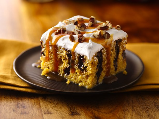 Caramel-Drizzled Pumpkin Poke Cake