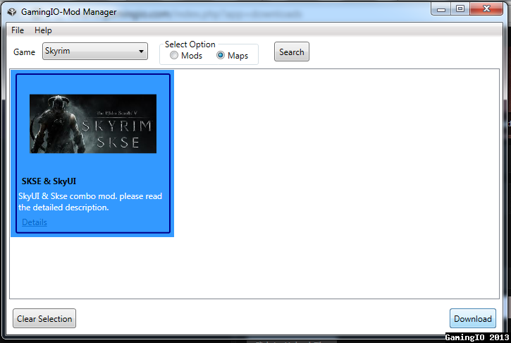 Click to view GamingIO Mod Manager 1.0 screenshot