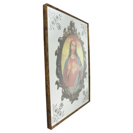 QUADRO ESPELHADO SAGRADO CORAÇÃO DE JESUS 80x60x3,5cm