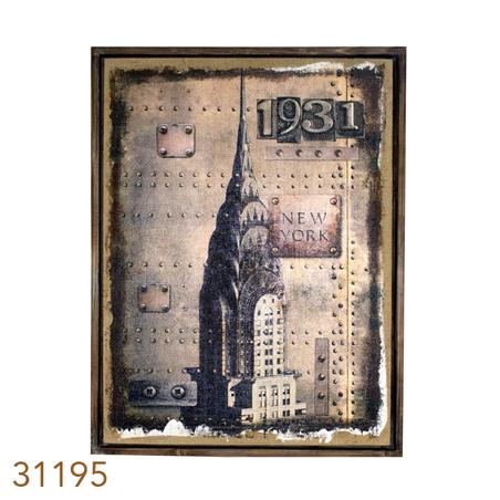 QUADRO LINHO ANTIQUE NEW YORK1931 OLDWAY 85X60X3CM