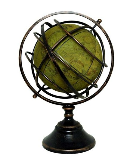 GLOBO ANTIQUE AMARELO ARCOS BASE METAL 64x39x34cm