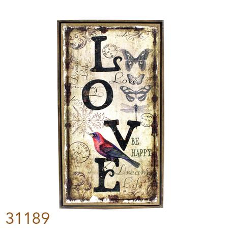 -QUADRO LINHO ANTIQUE LOVE OLDWAY 130x70x4cm