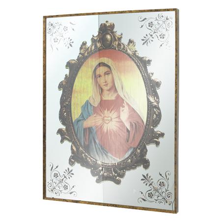 QUADRO ESPELHADO SAGRADO CORAÇÃO DE MARIA 80x60x3,5cm