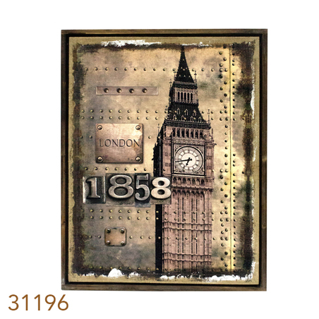 QUADRO LINHO ANTIQUE LONDON1858 OLDWAY 85X60X3CM