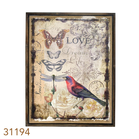 QUADRO LINHO ANTIQUE LOVE COMPÁSSARO OLDWAY 85x60x4cm