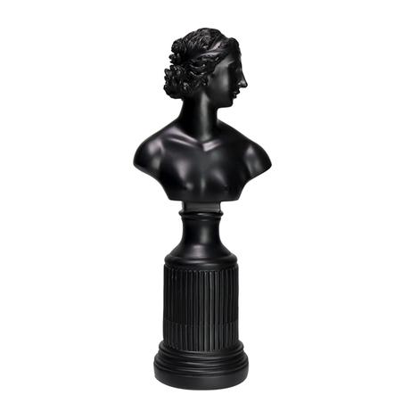 ESCULTURA RESINA BUSTO FEMININO PRETO 44x16x12cm