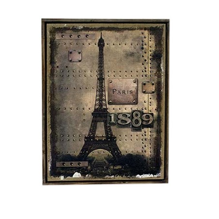 QUADRO LINHO ANTIQUE PARIS 1889 OLDWAY 85X60X3CM