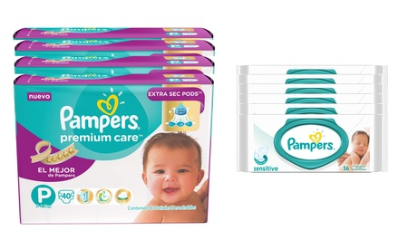 Pampers Combo Pampers Premium Care 40 unid x4 (Talle P) + 6 Packs Toallitas  Sensitive 56 unid