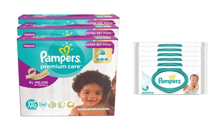 Pampers  COMBO PAMPERS PREMIUM CARE 36 UNID X3 (TALLE XXG) + 6 PACKS TOALLITAS SENSITIVE 56 UNID