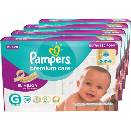 Pampers Pack x 4 Pañales Pampers Premium Care 46 unid - Talle Grande