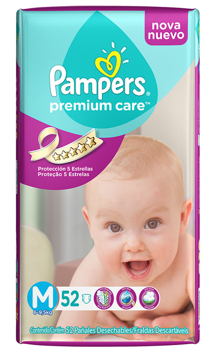 Pañales - Pampers Pañales Pampers Premium Care Suave M x52 - 3 Packs