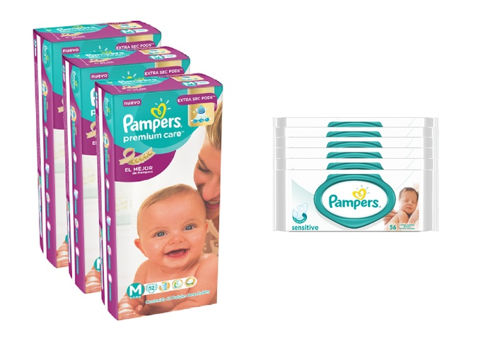 Pampers  COMBO PAMPERS PREMIUM CARE 52 UNID X3 (TALLE M) + 6 PACKS TOALLITAS SENSITIVE 56 UNID