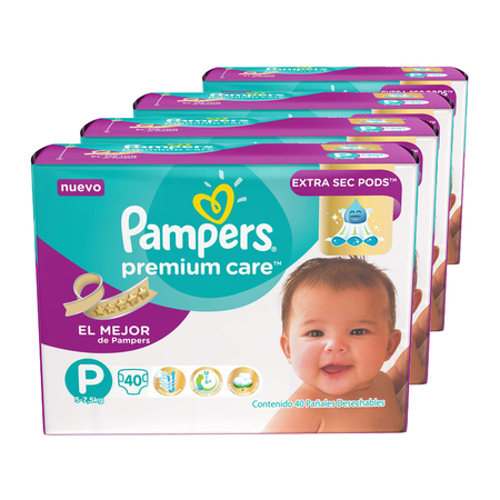 Pampers Pack x 4 Pañales Pampers Premium Care 40 unid - Talle Pequeño