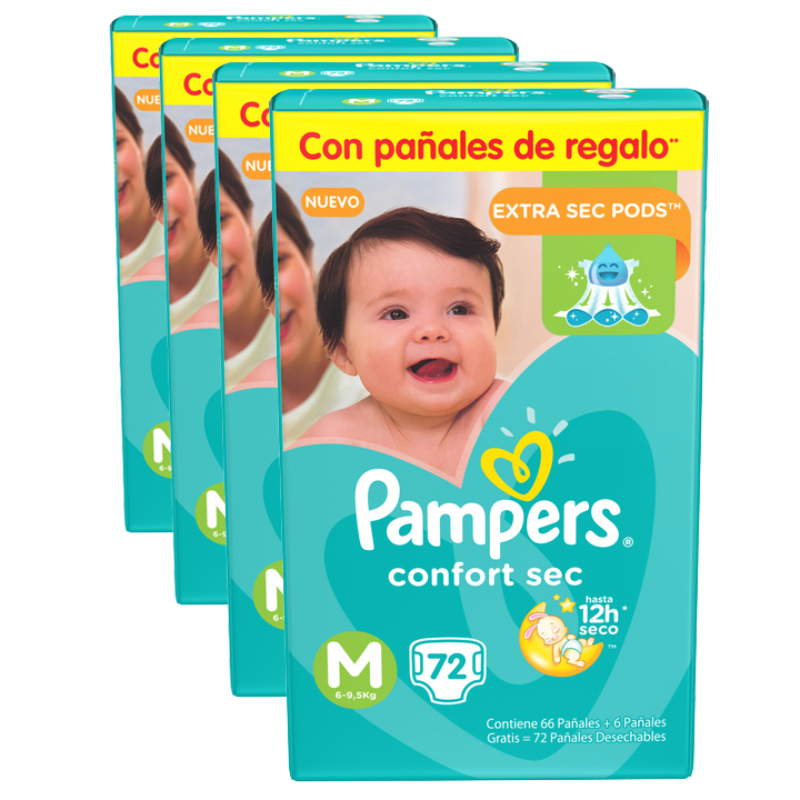 Pampers Pack x 4 Pañales Pampers Confort Sec 72 unid - Talle Mediano