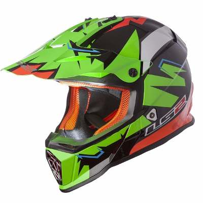 LS2 Casco Cross Ls2 Mx 437 Fast Explosive Green Orange Liviano