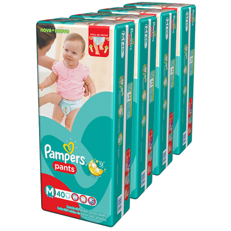 Pampers Pack x 4 Pañales Pampers Pants 40 unid - Talle Mediano