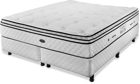 Sealy Colchón y Sommier de 160x200 Sealy Black Orlando con Base blanca (Queen)