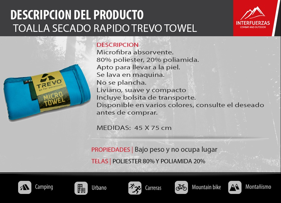 Interfuerzas Toalla Secado Rapido Compacta Ultra Slim 0,45 X 0,75 Towel