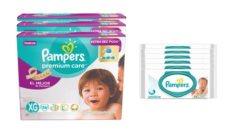 Pampers COMBO PAMPERS PREMIUM CARE 36 UNID X3 (TALLE XG) + 6 PACKS TOALLITAS SENSITIVE 56 UNID