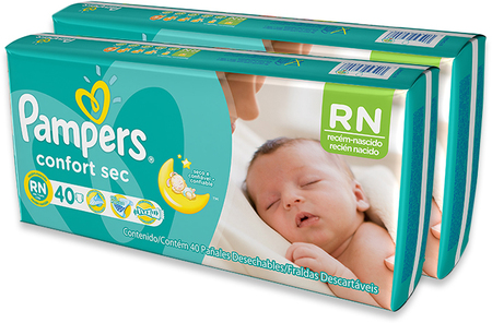 Pañales - Pampers Pañales Pampers RN Confort Sec x40 - 2 Packs