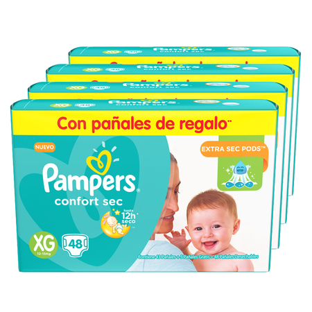 Pampers Pack x 4 Pañales Pampers Confort Sec 48 unid - Talle XG