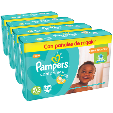 Pampers Pack x 4 Pañales Pampers Confort Sec 48 unid - Talle XXG