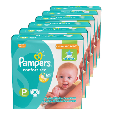 Pampers Pack x 6 Pañales Pampers Confort Sec 30 unid - Talle Pequeño
