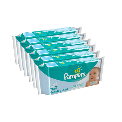 Toallitas - Pampers Pack x 6 Toallitas Pampers Fresh Clean 64 unid