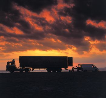 Graham Edwards Commercial Photography.van & lorry Cumbria, Morecambe Bay: sunset