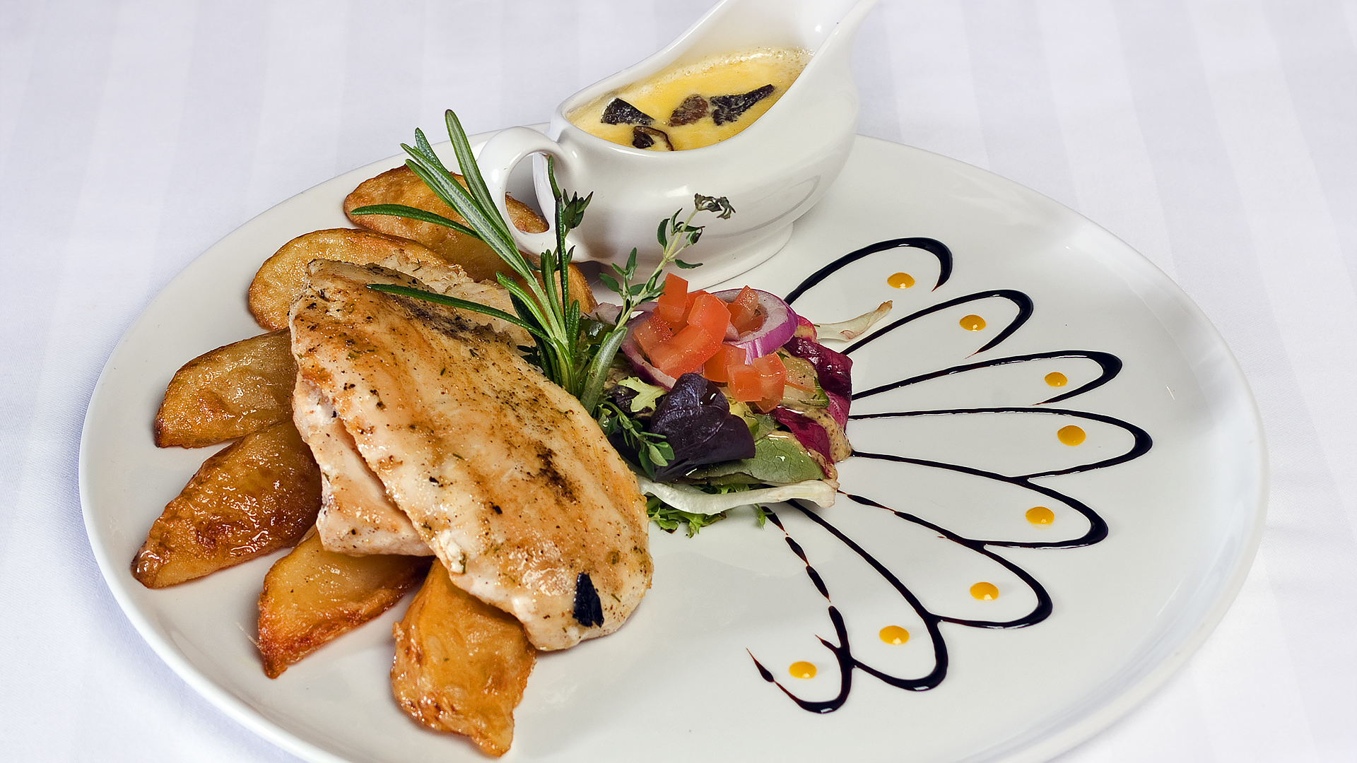 White House Chicken Nouveau Cuisine Food Image