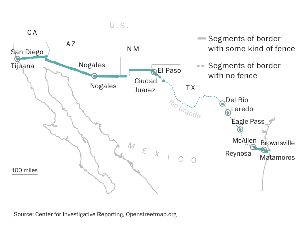 What It Would Mean To Build A USMexico Border Wall The Texas - Us border fence map
