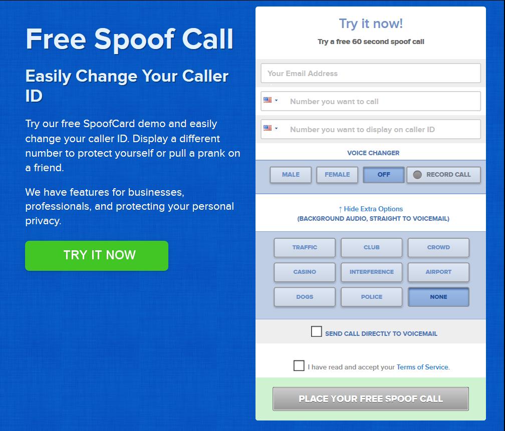 Online caller spoof free demo