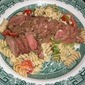 Thinly Sliced Beef Tenderloin Atop A Bed Of Pasta Primavera.... Perfect Simplicity