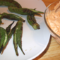 Grilled Okra with Smoked Paprika-Shallot Dip from Fine Cooking Magazine, August/September 2011