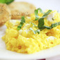 Creamy Scrambled Eggs with Goat Cheese and Basil