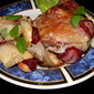 Fast and simple baked chicken with apple and strawberries