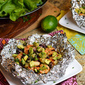 Shrimp, Black Bean and Pineapple Foil Packets