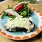 Gorgonzola Crusted Steak with Arugula Watermelon Salad