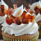 Bacon-Jalapeno-Peach Cupcakes with Spicy Cream Cheese Frosting