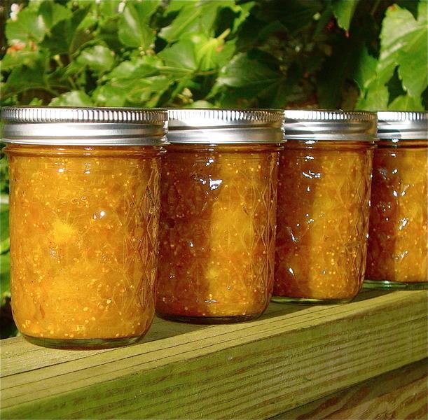 Jars of Orange Cinnamon Honey Fig Jam - Waiting for Thanksgiving!