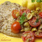 Mustard pork tenderloin in olive and cherry tomato salsa