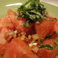 Watermelon Salad with Bleu Cheese, Pancetta, and Basil