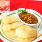 Chole Bhatura / Deep Fried Indian Puffed Bread with Chickpeas Curry
