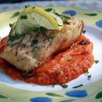 Sea Bass with Roasted Tomato and Pepper Herb Sauce