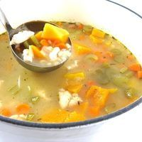 Fiber Rich Chicken, Barley and Butternut Squash Soup