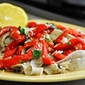 Basil Tagliatelle with Roasted Red Bell Pepper Salad